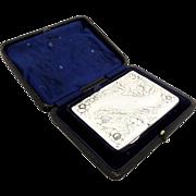 Antique Edwardian Sterling Silver Card Case/Aide Memoire in Case 1902