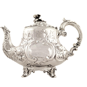 Antique Victorian Sterling Silver 3 Pint Teapot 1858