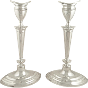 "Pair of Antique Sterling Silver 12"" Candlesticks 1936"