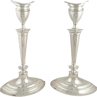 """Pair of Antique Sterling Silver 12"""" Candlesticks 1936"""