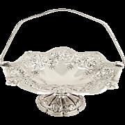 """Antique Edwardian Sterling Silver 11"""" Basket / Dish 1905"""