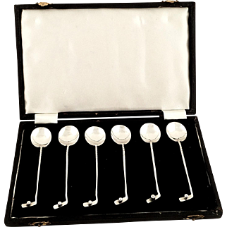 Set of 6 Antique Sterling Silver 'Golf' Teaspoons in Case 1924