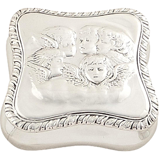 Antique Victorian Sterling Silver 'Angels' Trinket Box 1898
