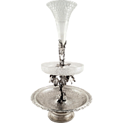 """Antique Victorian Sterling Silver & Cut Glass 21"""" Epergne Centrepiece 1884"""