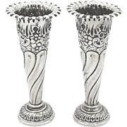 Pair of Antique Edwardian Sterling Silver Vases 1907