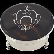 Antique Sterling Silver & Tortoiseshell Trinket Box 1919