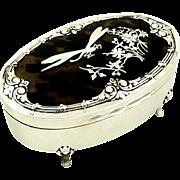 Antique Sterling Silver & Tortoiseshell Dragonfly Trinket Box 1907