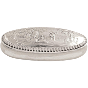 Antique Victorian Sterling Silver Ring Box with Scene 1900