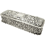 Antique Edwardian Sterling Silver Ring Box 1906