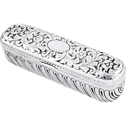 Antique Victorian Sterling Silver Ring Box 1885