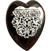 Antique Victorian Sterling Silver & Tortoiseshell Heart Desk Clip 1895