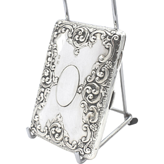 Antique Edwardian Sterling Silver Card Case/Aide Memoire in Case 1907