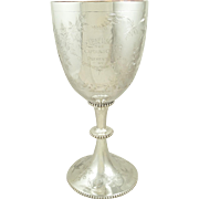 """Antique Victorian Sterling Silver 12"""" Presentation Cup/Trophy - 1883 - The Bar Tennis Club"""