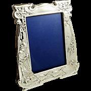 "Antique Art Nouveau Sterling Silver 11"" Goose Girl Photo Frame 1906"