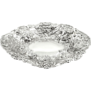 """Antique Victorian Sterling Silver 10 1/2 """" Dish / Bowl 1885"""