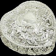 Antique Victorian Sterling Silver Heart Trinket Box 1895