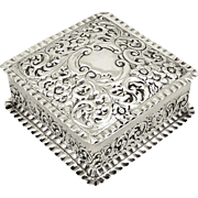 Antique Victorian Sterling Silver Trinket Box 1897
