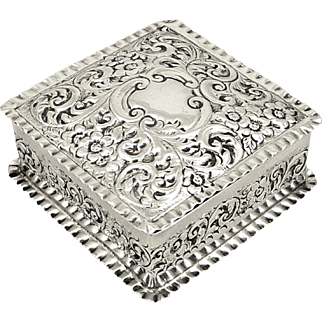 Antique Victorian Sterling Silver Trinket Box 1897