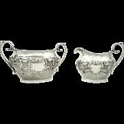 Antique Edwardian Sterling Silver Jug & Bowl 1901