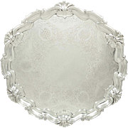 """Antique Edwardian Sterling Silver 12 1/2"""" Tray / Salver 1903"""