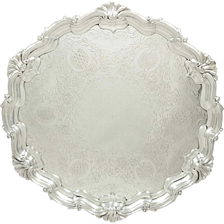 "Antique Edwardian Sterling Silver 12 1/2"" Tray / Salver 1903"