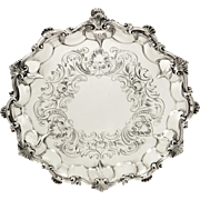 """Antique Victorian Sterling Silver 8 1/2"""" Tray 1853"""