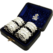 Set of 4 Antique Victorian Sterling Silver Napkin Rings in Presentation Case 1891