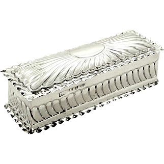 Antique Victorian Sterling Silver Trinket Box 1892