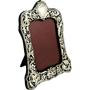 "Antique Victorian Sterling Silver 8"" Photo Frame 1900"