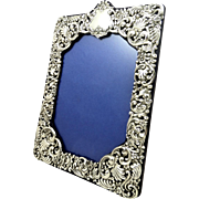 "Antique Edwardian Sterling Silver 10"" Photo Frame 1902"