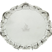 "Antique Victorian Sterling Silver 7"" Tray/Salver 1897 - Unicorn Crest"