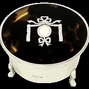 Antique Sterling Silver & Tortoiseshell Trinket Box 1917