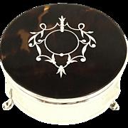 Antique Sterling Silver & Tortoiseshell Trinket Box 1914