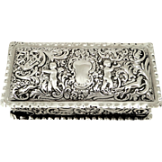 Antique Victorian Sterling Silver Ring Box with Cherubs 1898