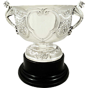 """Stunning Antique Edwardian Sterling Silver 10"""" Trophy / Presentation Cup with Dragon Handles 1908"""