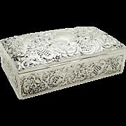 Antique Edwardian Sterling Silver Cigarette Box 1903