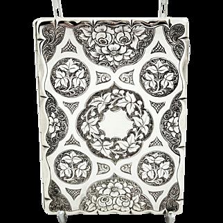 Antique Victorian Sterling Silver Card Case /Aide Memoire 1865