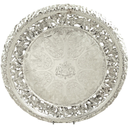 """Antique William IV Sterling Silver 12"""" Pierced Tray / Salver 1831"""