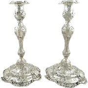 "Pair of Antique Victorian Sterling Silver 11"" Candlesticks - Walker & Hall 1896"