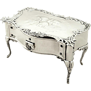 Unusual Antique Sterling Silver 'Table' Trinket Box - 1901 - Choir of Angels