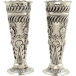 Pair of Antique Victorian Sterling Silver Vases 1896