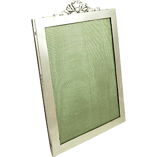 """Antique Sterling Silver 8"""" 'Bow/Ribbon' Photo Frame 1919"""