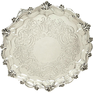 "Antique Georgian Sterling Silver 10"" Tray / Salver 1820"