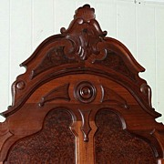 Walnut Victorian High Back Lincoln Style Bed, Burl Panels, Carved Frieze