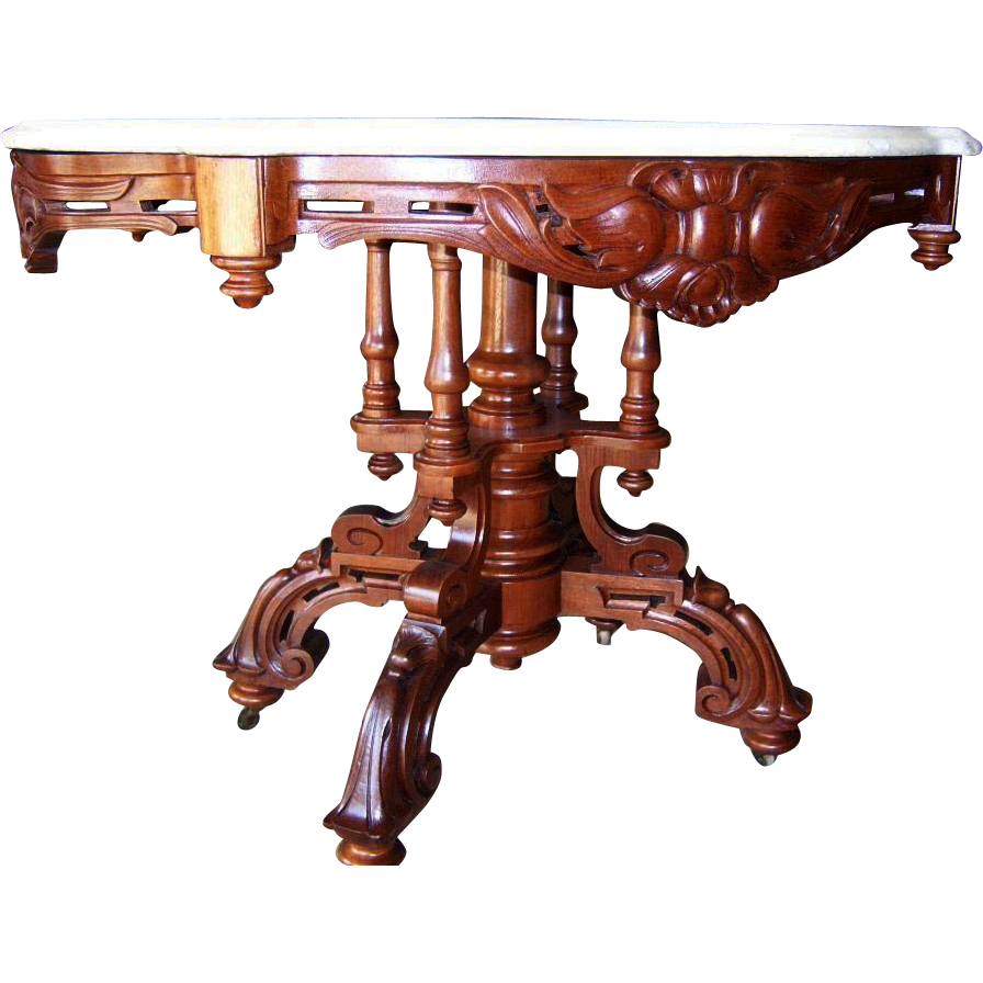 Walnut Victorian Center Table, Foyer Table,Turtle Shaped Marble Top