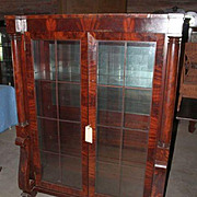 Mahogany Bookcase China Cabinet, Federal Empire Revival