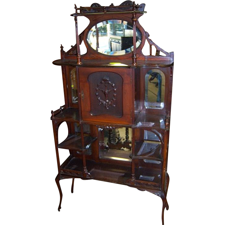 Victorian etagere with mirror galleries shelves carved - Etagere scandinave vintage ...