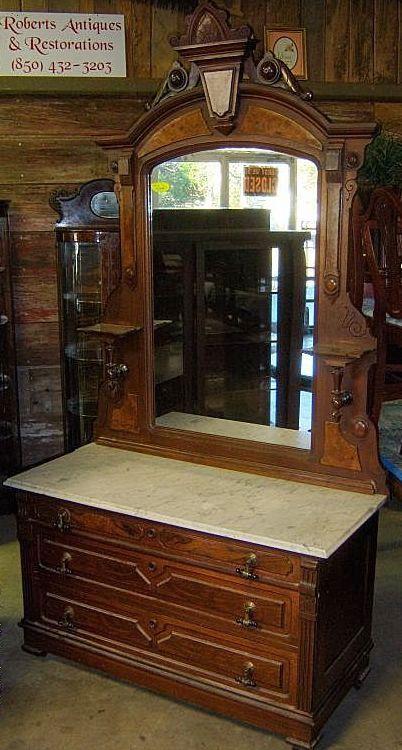 Walnut Dresser Victorian Renaissance Revival Marble Top