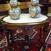 Walnut Center Table, Renaissance Revival, Inset Marble Top