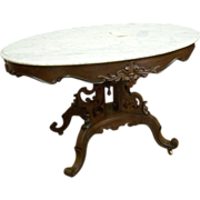 Rosewood Marble Top Center or Foyer Table, Victorian, Rococo